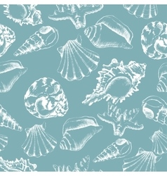 Seamless of hand-drawing style with shells vector