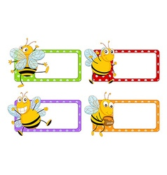 Square labels with happy bees vector image