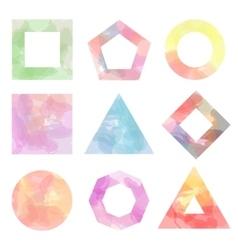Nine simple figures watercolor vector image