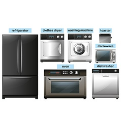 Appliance set with electronic equipment vector