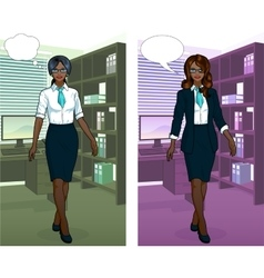 African Businesswoman in office interior vector image vector image