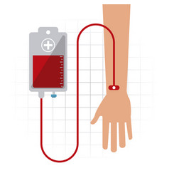 Arm bag blood hand donation icon graphic vector
