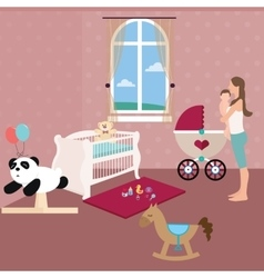 Baby nursery room with crib toys and moms holding vector