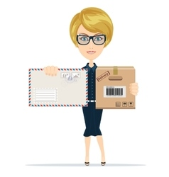 Beautiful girl postman vector image vector image
