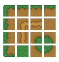 Box game level objects - land bush road vector image