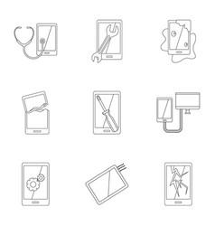 Broken phones fix icon set outline style vector