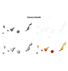 Canary islands blank outline map set vector