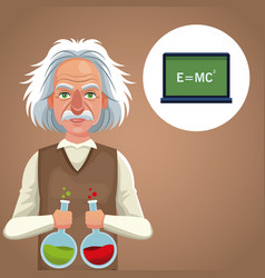 character scientist physical with test tube vector image