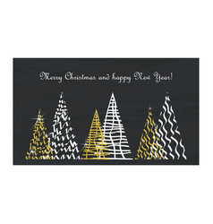christmas card gold tree vector image vector image