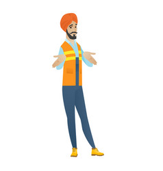 Confused hindu builder shrugging shoulders vector
