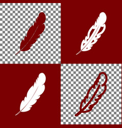 Feather sign bordo and white vector