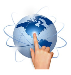Finger touching globe vector image