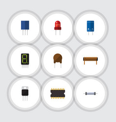 Flat icon electronics set of resistor bobbin vector