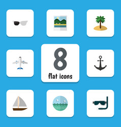Flat icon summer set of scuba diving yacht vector