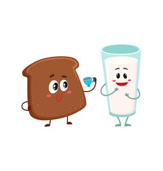 Funny dark brown bread slice and milk glass vector