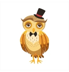 Gentleman Owl In Top Hat Cute Cartoon Character vector image vector image