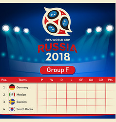 Group f qualifier table russia 2018 world cup vect vector