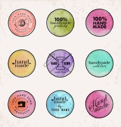 Hand Made Labels Badges and Design Elements vector image vector image