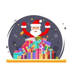 happy santa claus shopping pile goods christmas vector image
