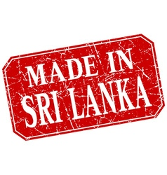 Made in sri lanka red square grunge stamp vector
