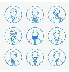 Man outline silhouettes people line icons vector