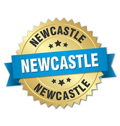 Newcastle round golden badge with blue ribbon vector