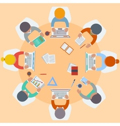 Office workers on meeting and brainstorming vector image vector image