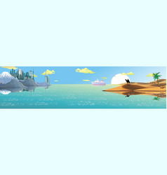 panorama - the ship from the arab coast vector image