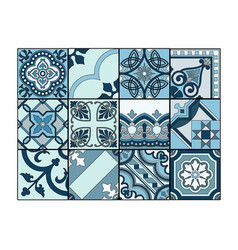 patchwork in shades of blue vector image vector image