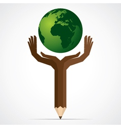 Pencil hand save the world stock vector