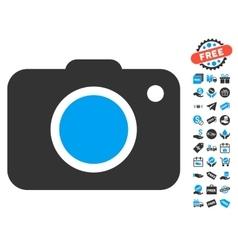 Photo camera icon with free bonus vector
