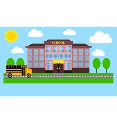 School bus rides to school vector