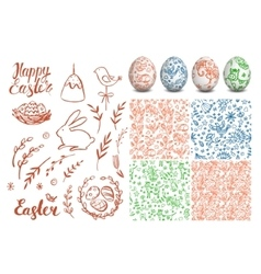 Set of Easter hand drawn elements folk seamless vector image