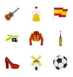 spanish culture symbols icons set flat style vector image vector image