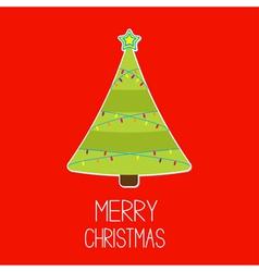 Triangle christmas tree with lights merry christma vector