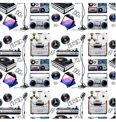 Watercolor musical devices pattern vector