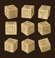 wooden alphabet blocks vector image