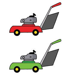 Collage of red and green lawn mowers vector