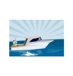 Fisherman fishing rod and reel retro vector