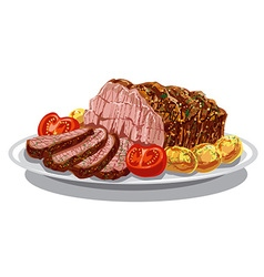 roastbeef with baked potatoes vector image