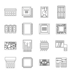 Computer chips icons set outline style vector