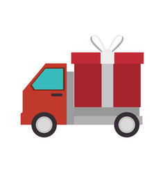 delivery truck with gift isolated icon vector image