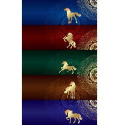 Horse silhouette on floral background vintage set vector image