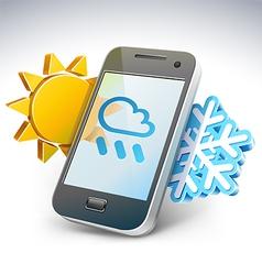 Weather on smartphone - vector