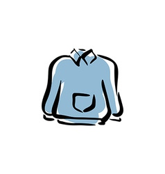 Blue sweater for men isolated hand drawn clo vector