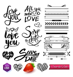Set of love texts borders and symbols on white vector