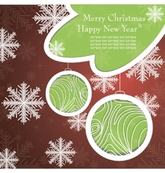 Christmas card with tree and snowflakes vector image