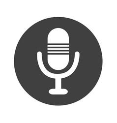Monochrome round microphone icon vector