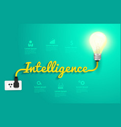 Intelligence concept with creative light bulb idea vector