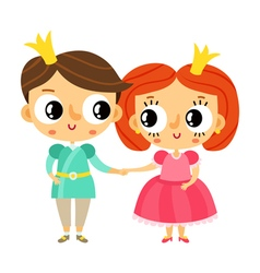 Cartoon prince and princess holding hands cute vector